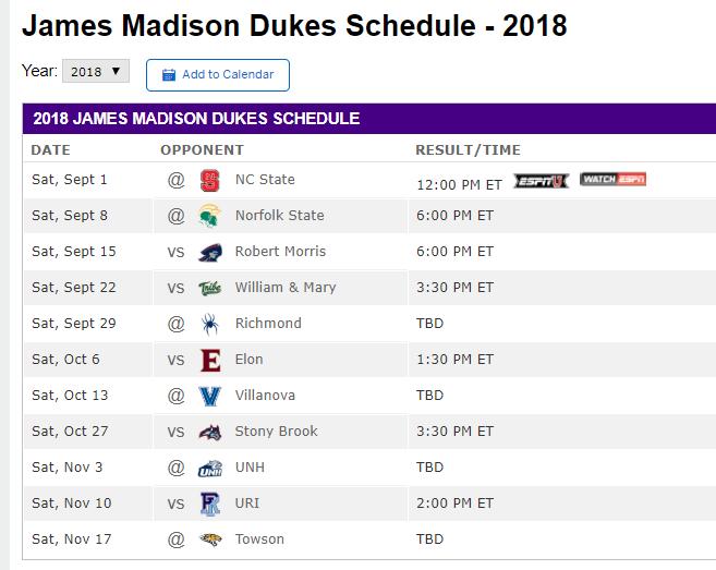 JMU schedule